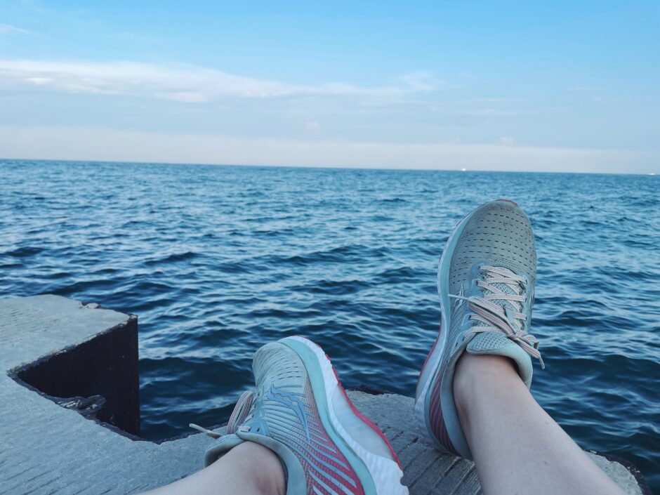 running shoes by the lake